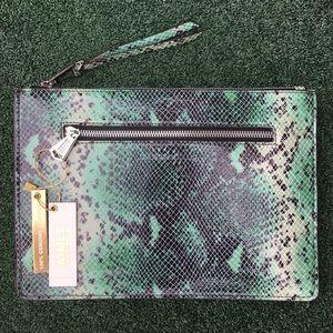 NWT Aimee Kestenberg Snake Print Pouch Emerald